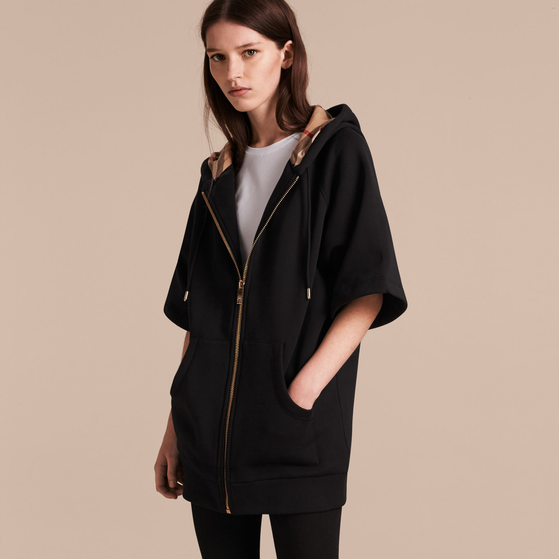 Zip-front Oversize Cotton Jersey Sweatshirt with Hood in Black - Women | Burberry - gallery image 6