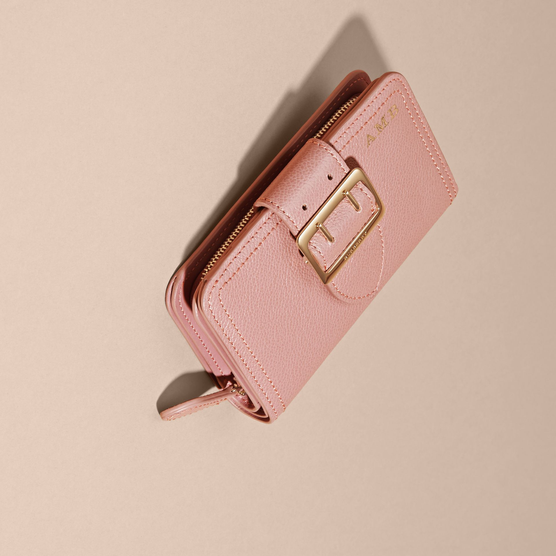 Dusty pink Buckle Detail Grainy Leather Wallet Dusty Pink - gallery image 6