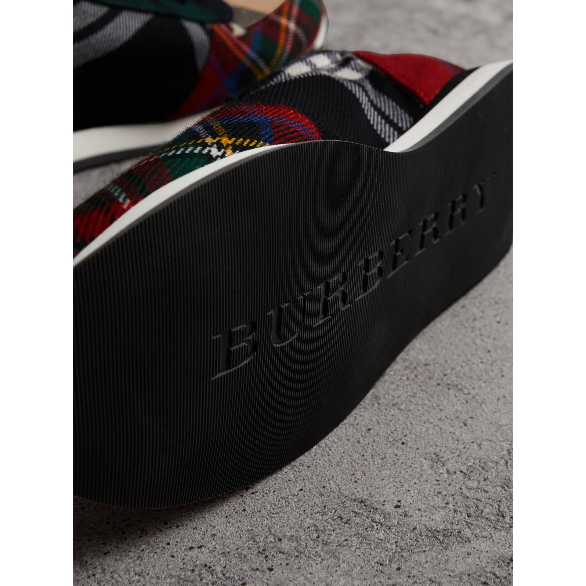 Tartan Wool Sneakers in Black/bright Red - Women | Burberry United States - gallery image 1
