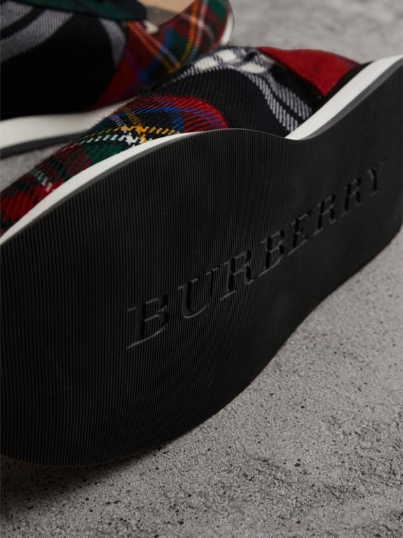 Tartan Wool Sneakers in Black/bright Red - Women | Burberry - cell image 1