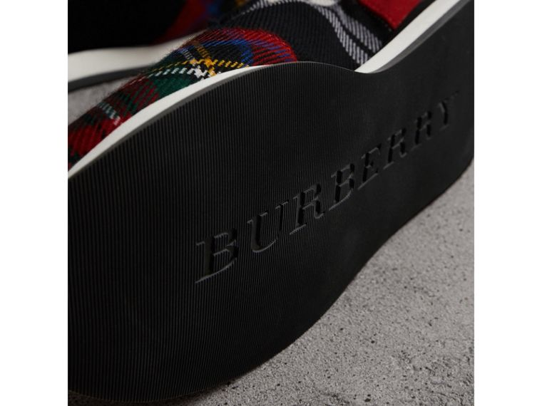 Tartan Wool Sneakers in Black/bright Red - Women | Burberry Hong Kong - cell image 1