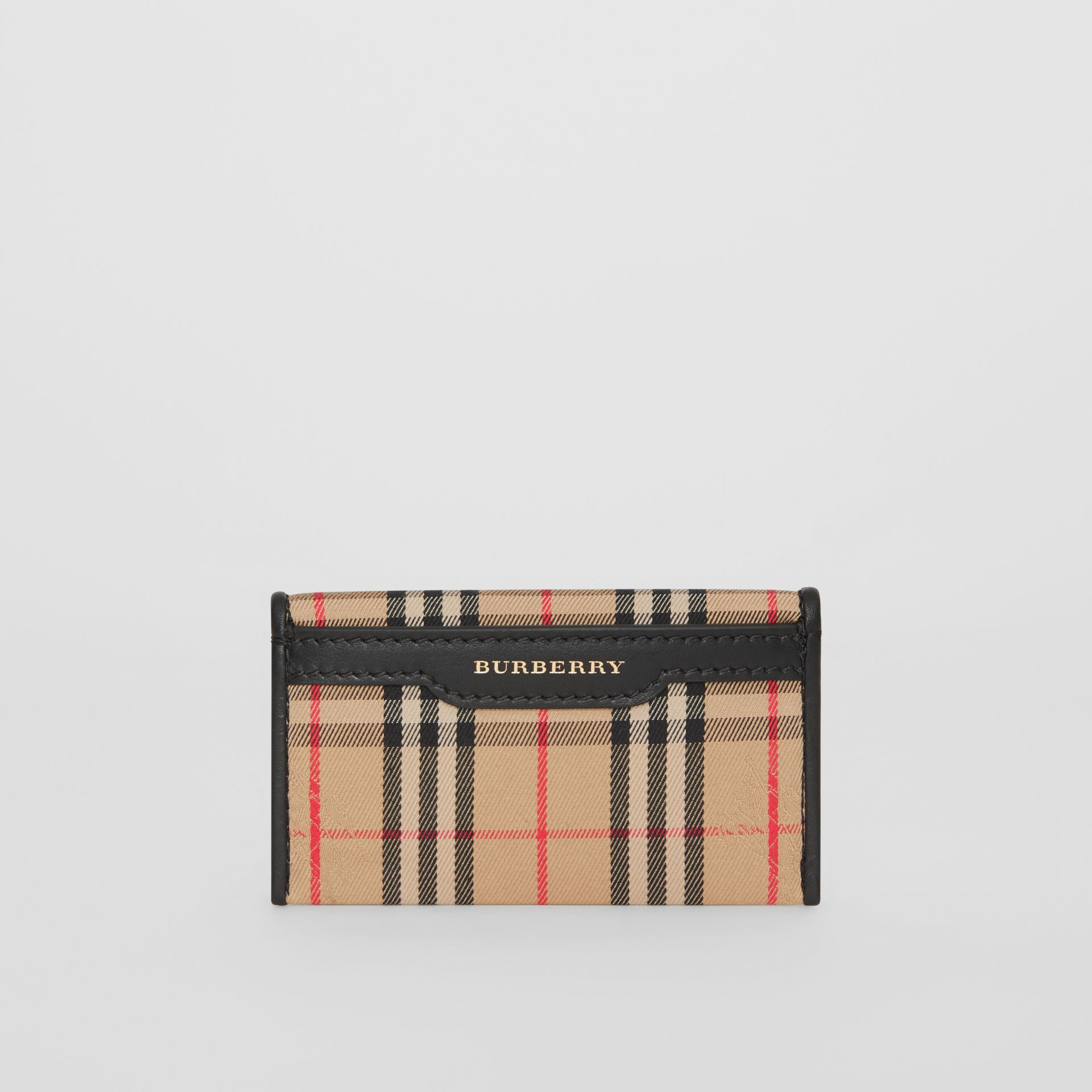 1983 Check and Leather Envelope Card Case in Black - Women | Burberry - gallery image 5