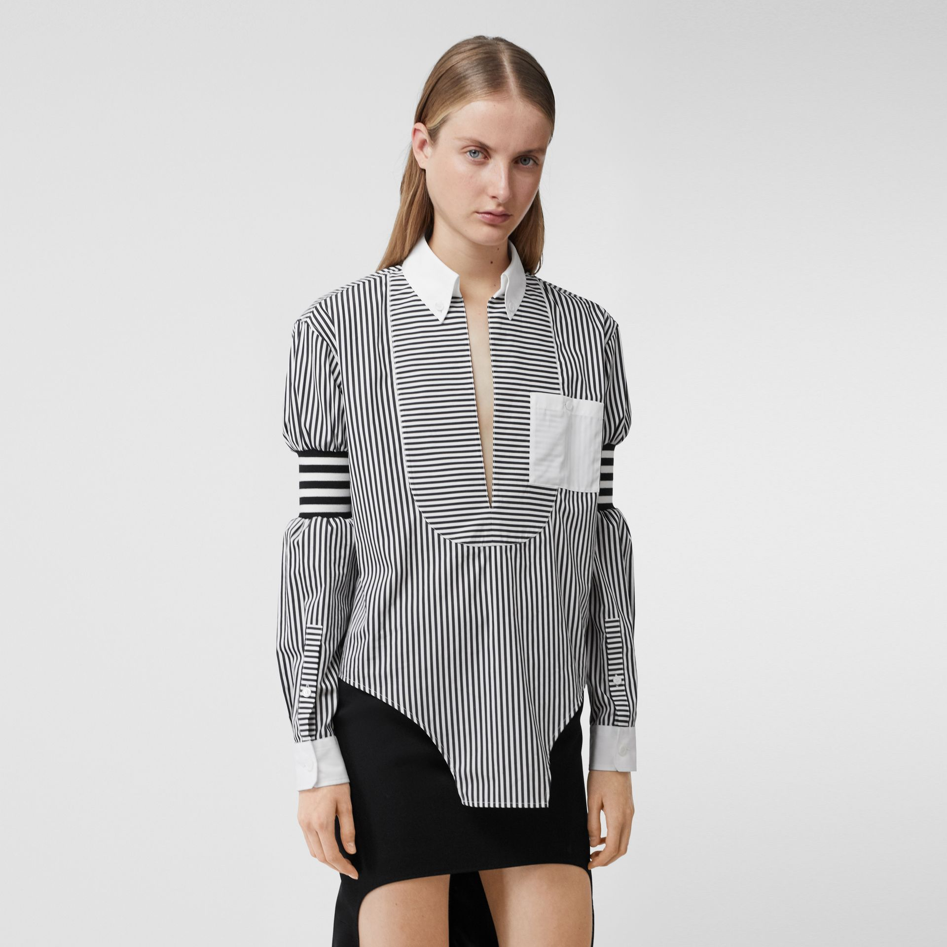 Cut-out Hem Striped Cotton Poplin Shirt in Black - Women | Burberry - gallery image 5