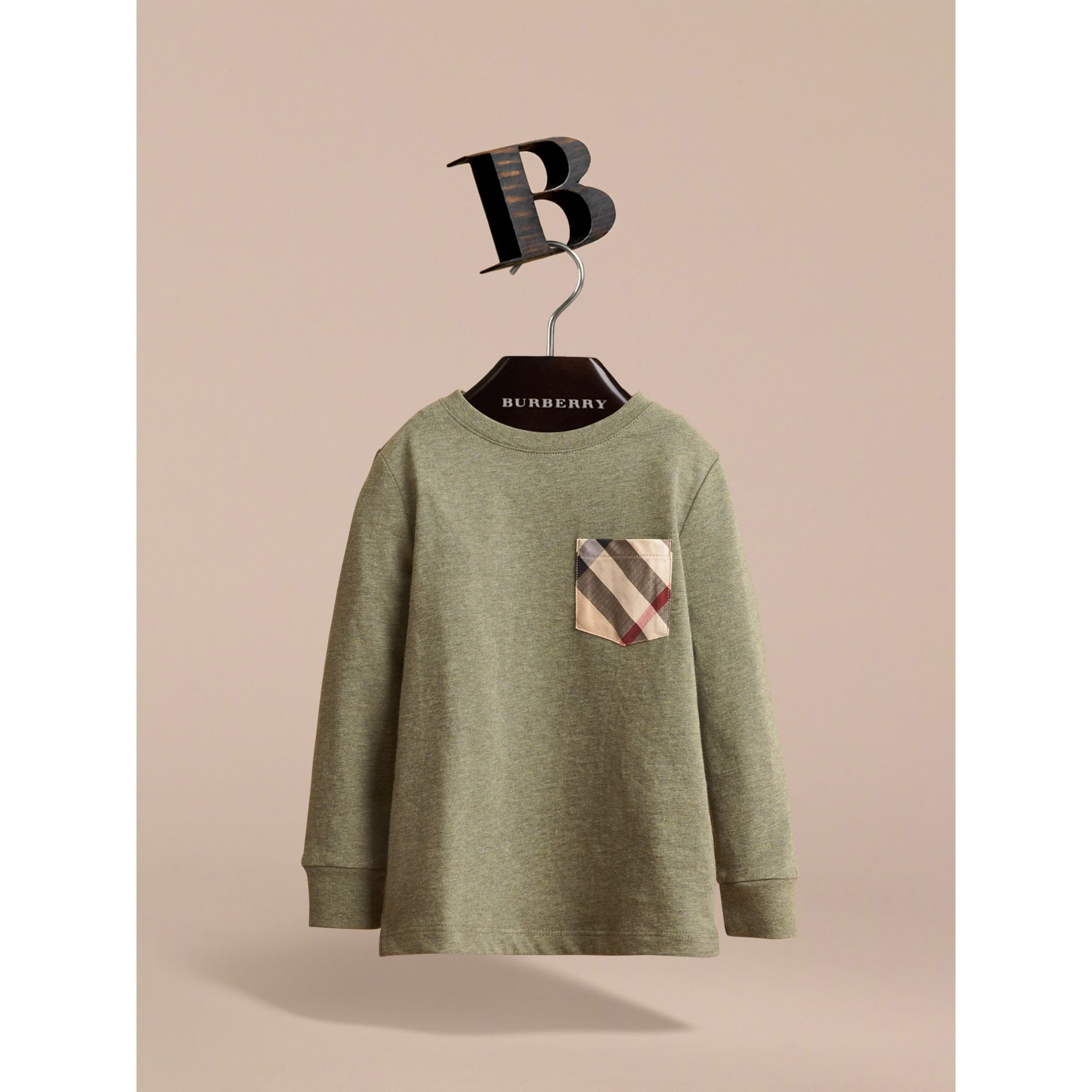 Long-sleeve Check Pocket Cotton T-shirt in Khaki Green Melange - Boy | Burberry - gallery image 2
