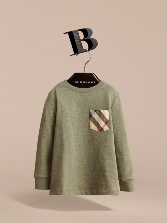 Long-sleeve Check Pocket Cotton T-shirt in Khaki Green Melange - Boy | Burberry - cell image 2