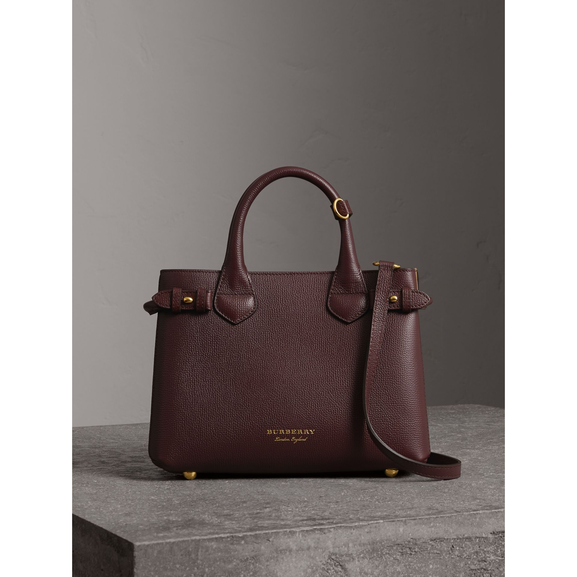 The Small Banner in Leather and House Check in Mahogany Red - Women | Burberry - gallery image 5