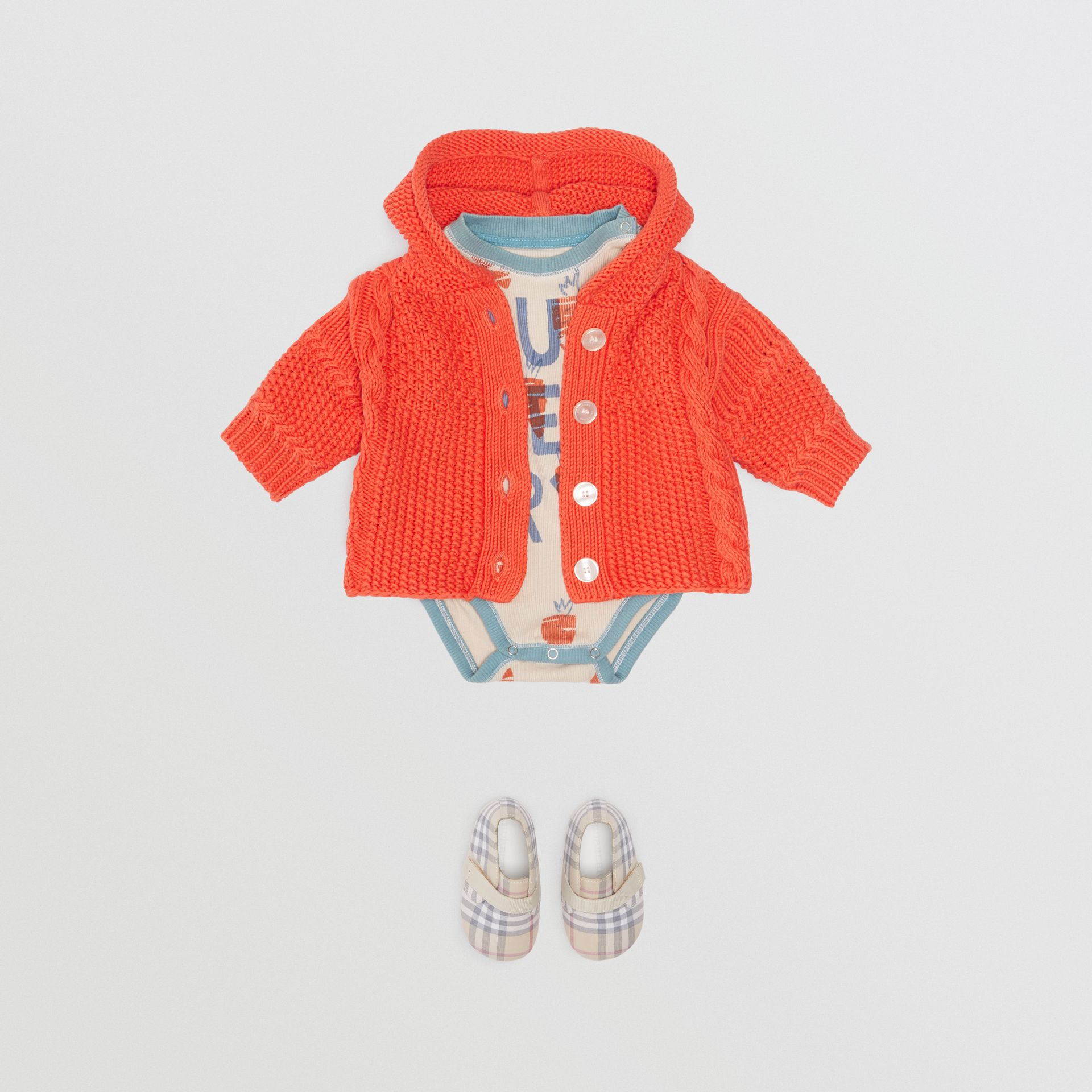 Contrast Knit Cotton Hooded Jacket in Orange Red - Children | Burberry - gallery image 2