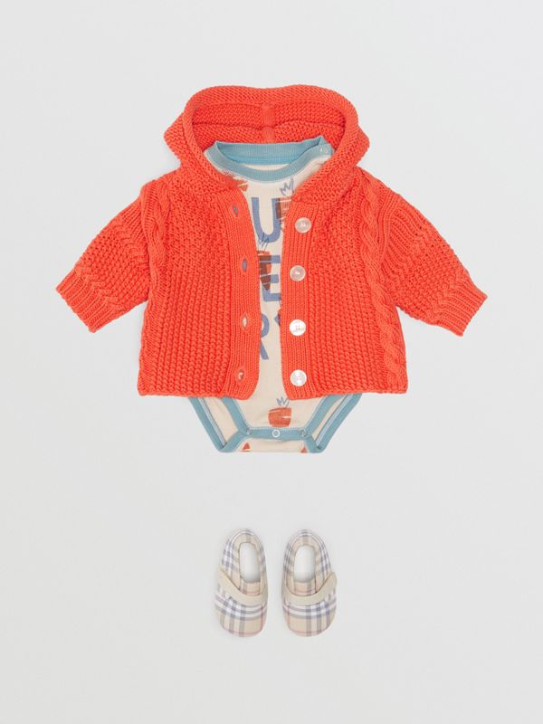 Contrast Knit Cotton Hooded Jacket in Orange Red - Children | Burberry Singapore - cell image 2