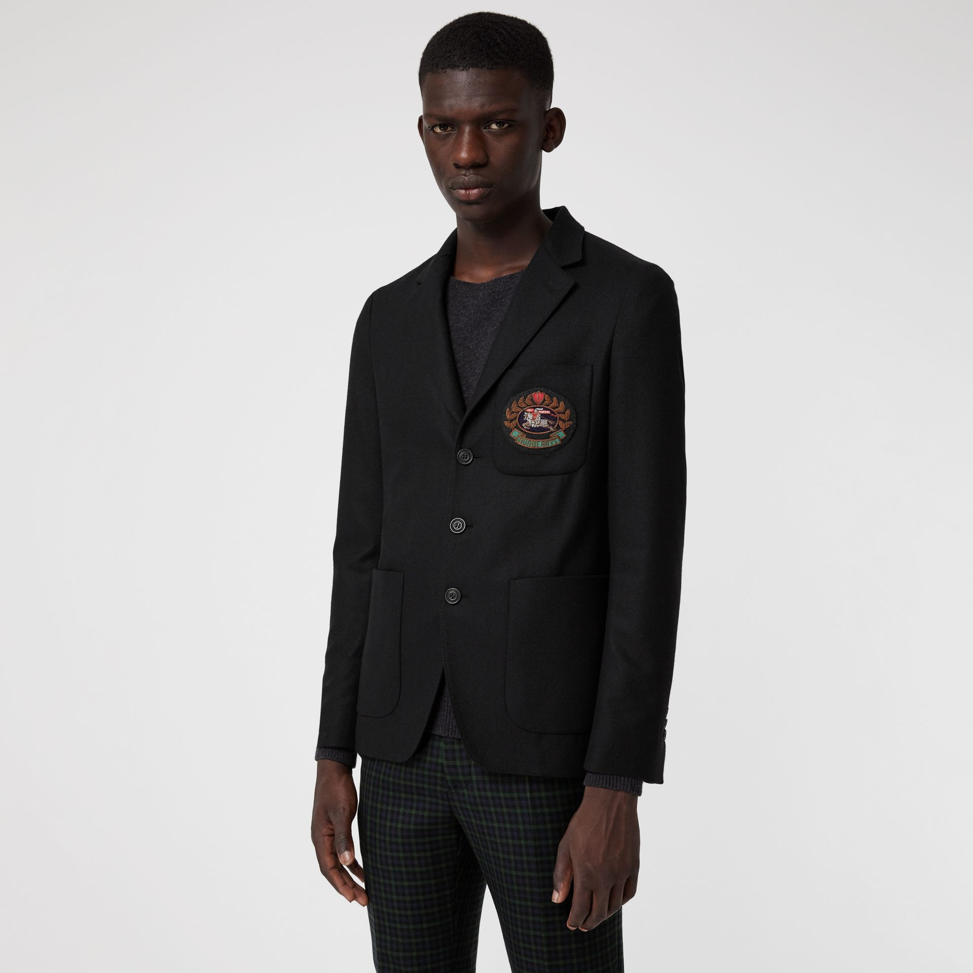 Slim Fit Embroidered Crest Wool Club Blazer in Black - Men | Burberry Australia - gallery image 5