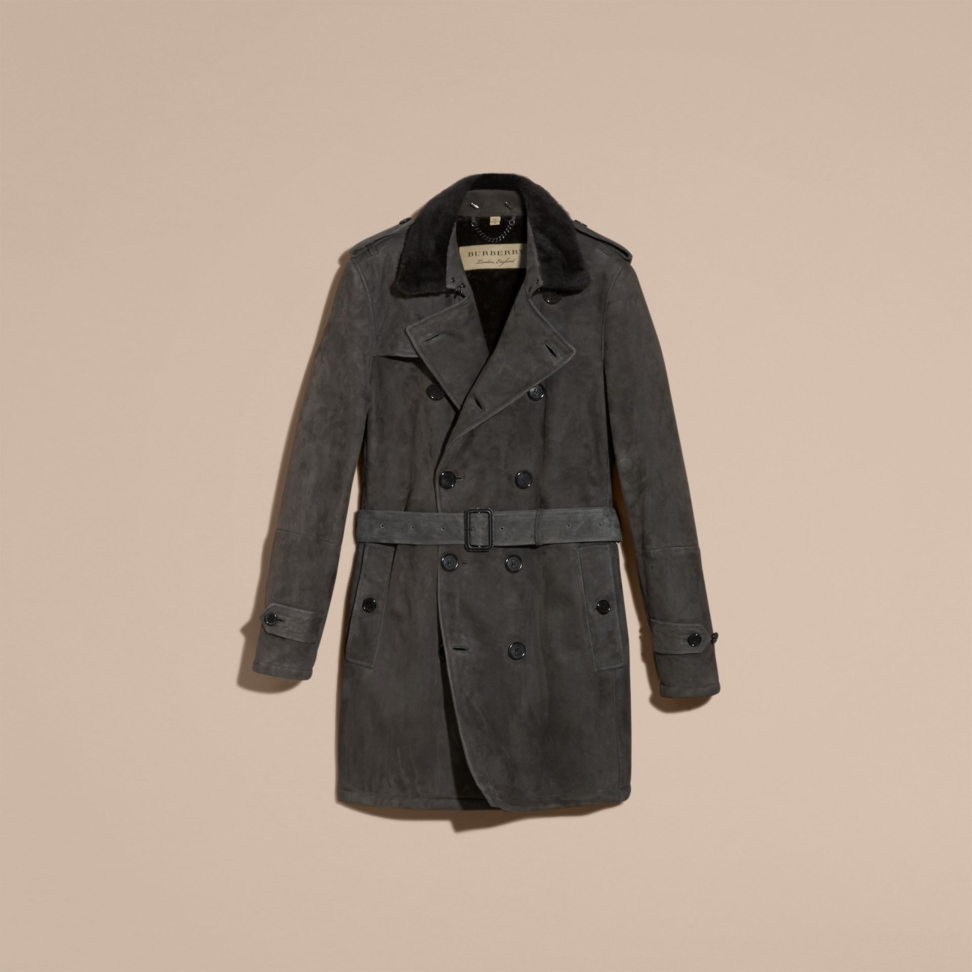 Charcoal Shearling Trench Coat - gallery image 4