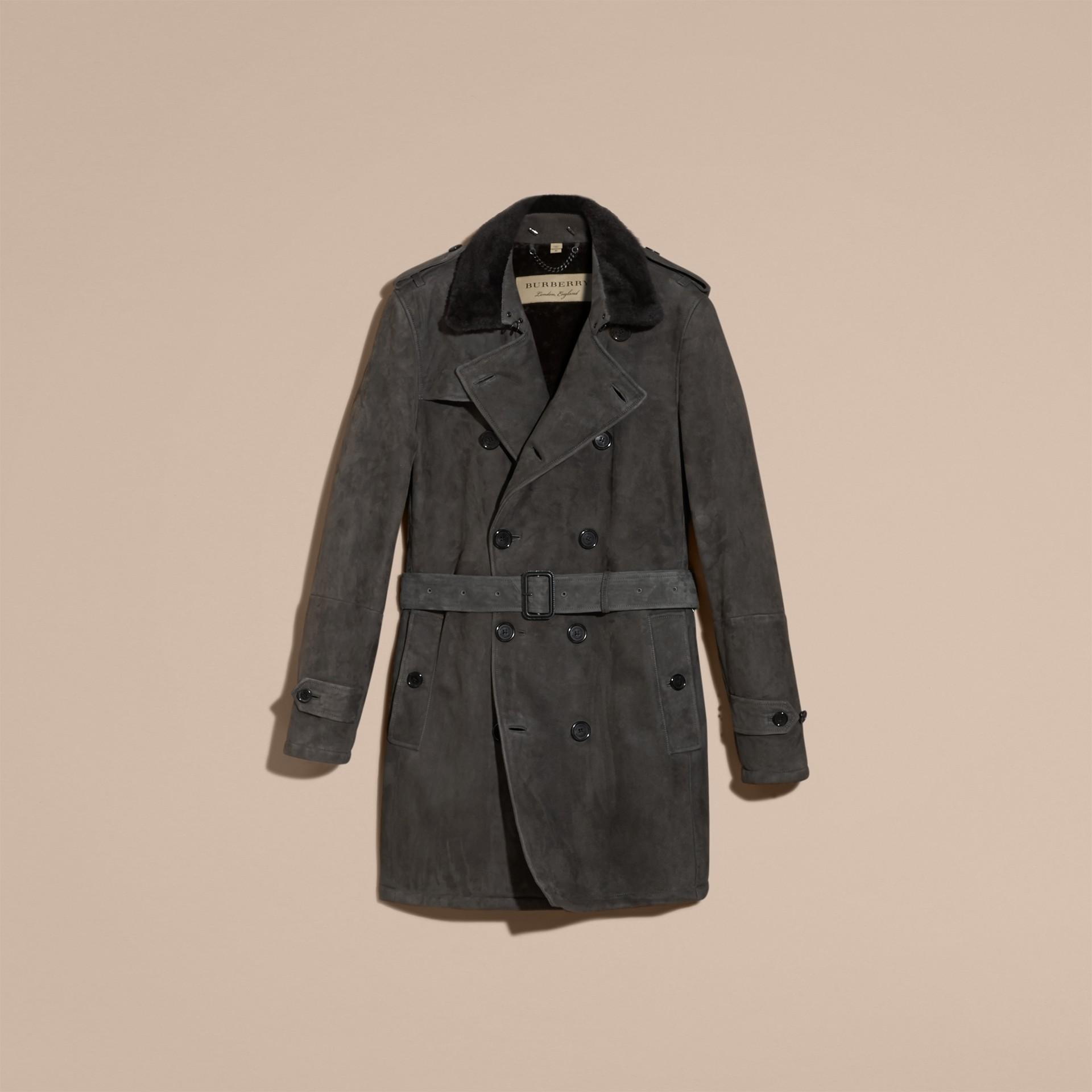 Nero fumo Trench coat in shearling - immagine della galleria 4