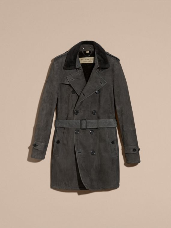Nero fumo Trench coat in shearling - cell image 3