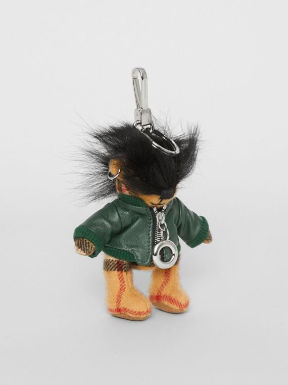 Thomas Bear Charm in Leather Jacket in Canvas Green