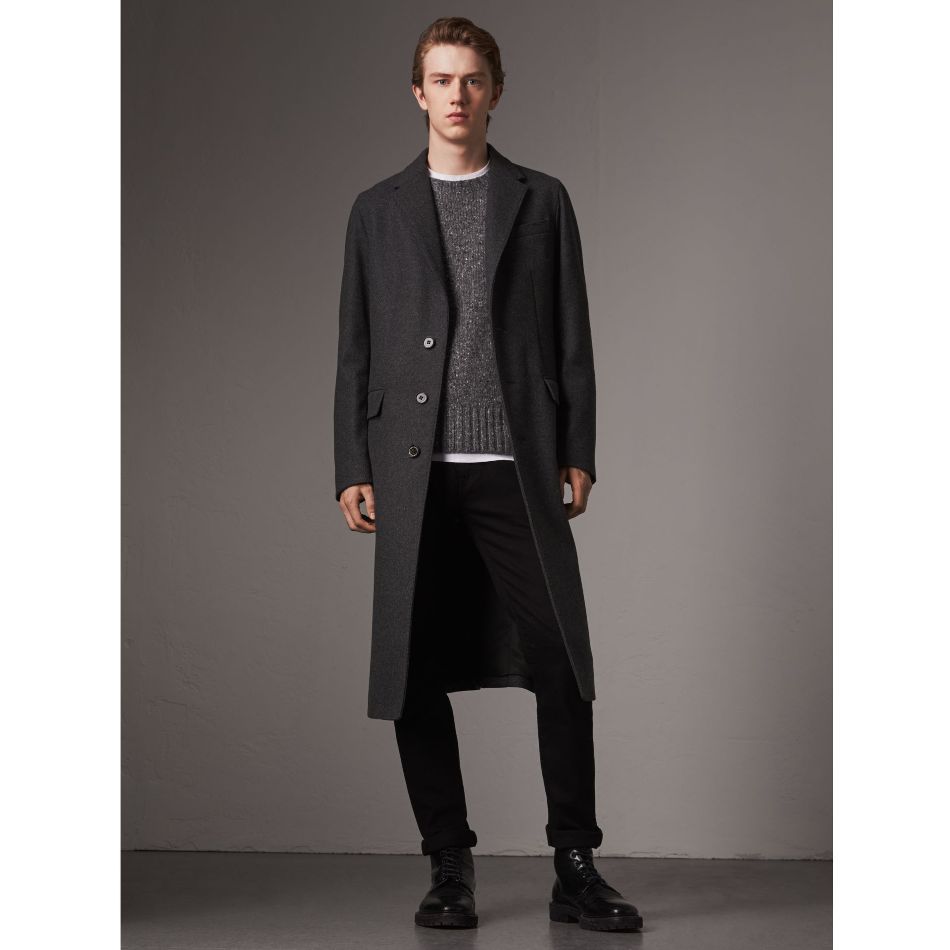 Melange Wool Blend Coat in Dark Grey - Men | Burberry United States - gallery image 0
