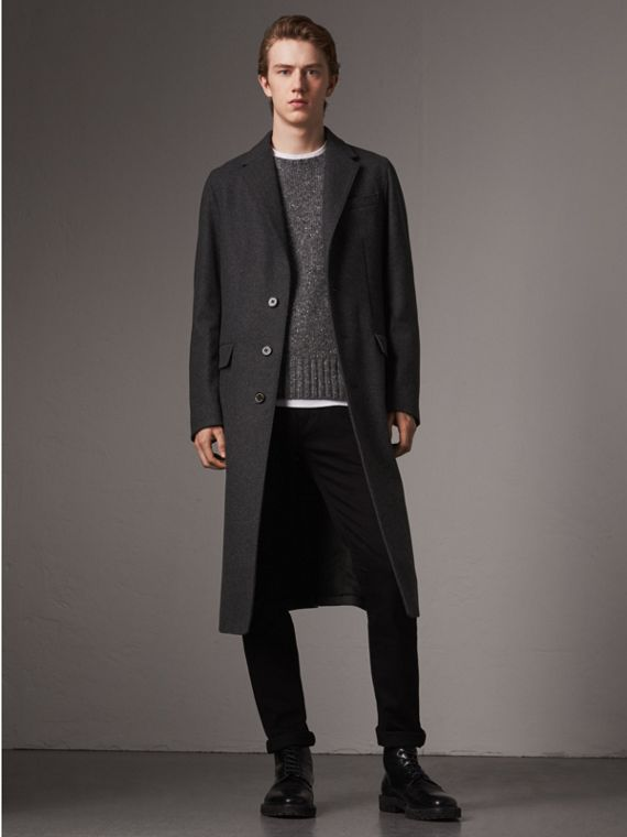Melange Wool Blend Coat in Dark Grey