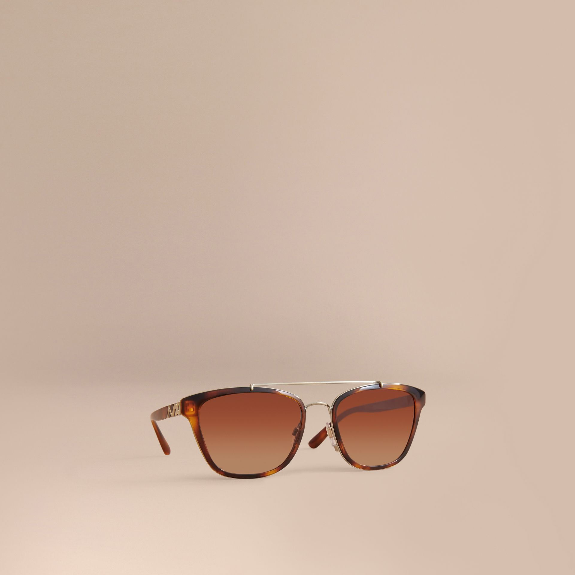 Top Bar Square Frame Sunglasses in Tortoiseshell - gallery image 1