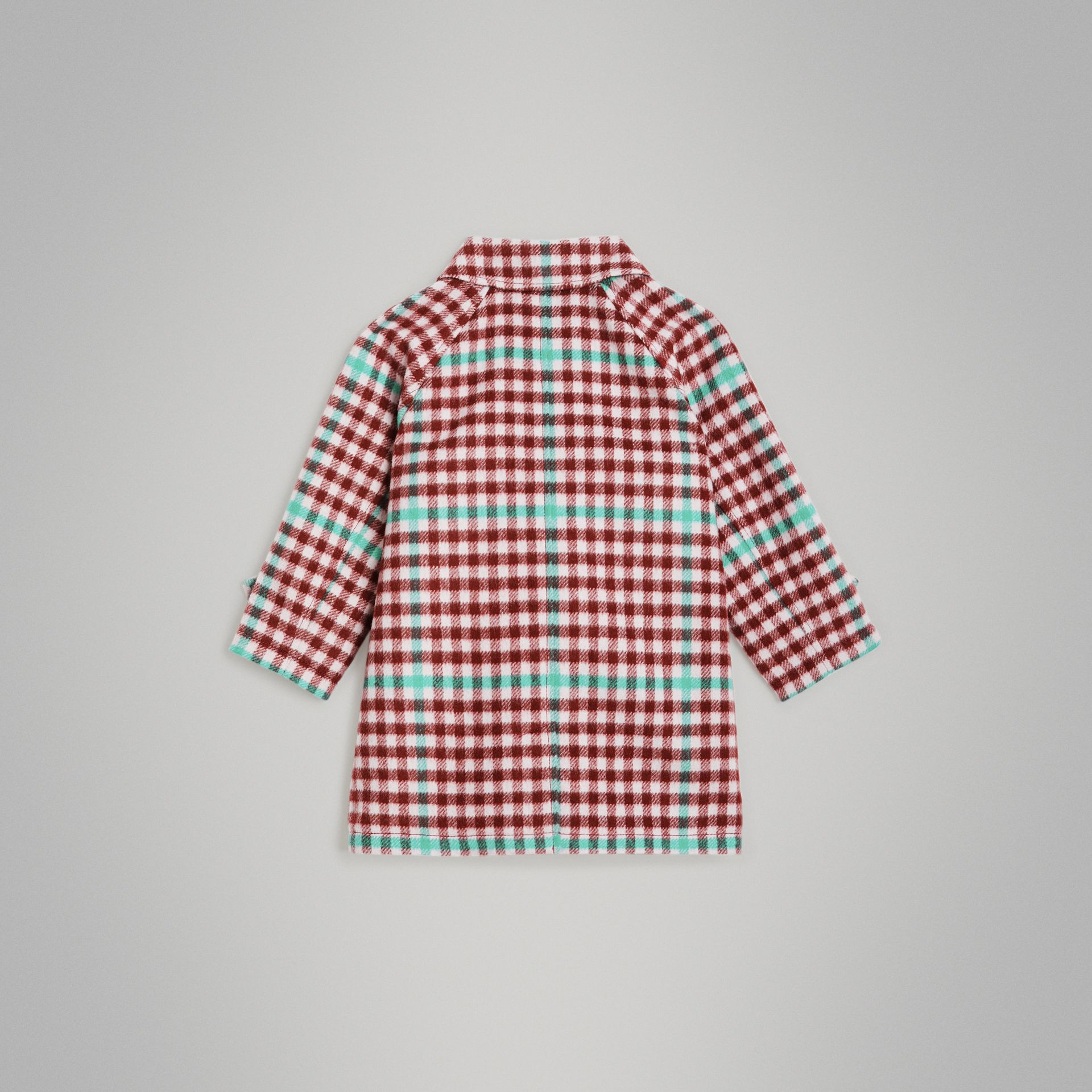 Check Wool Car Coat in Garnet Pink - Children | Burberry United States - gallery image 3