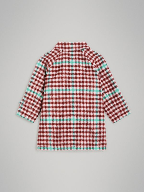 Check Wool Car Coat in Garnet Pink - Children | Burberry United States - cell image 3