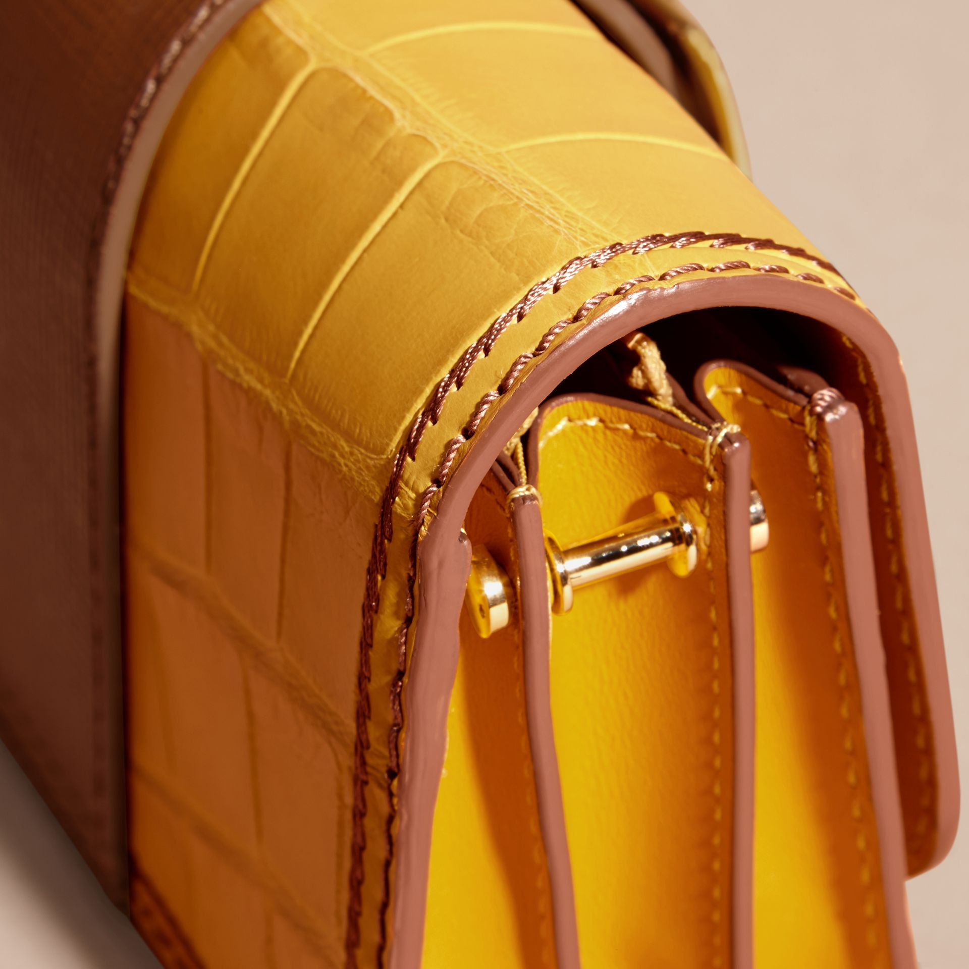 The Small Buckle Bag in Alligator and Leather Citrus Yellow / Tan - gallery image 2