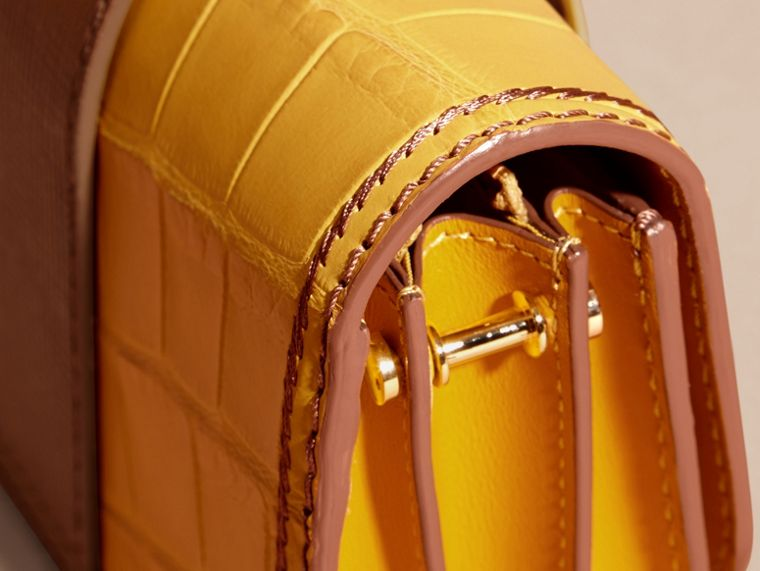 The Small Buckle Bag in Alligator and Leather Citrus Yellow / Tan - cell image 1