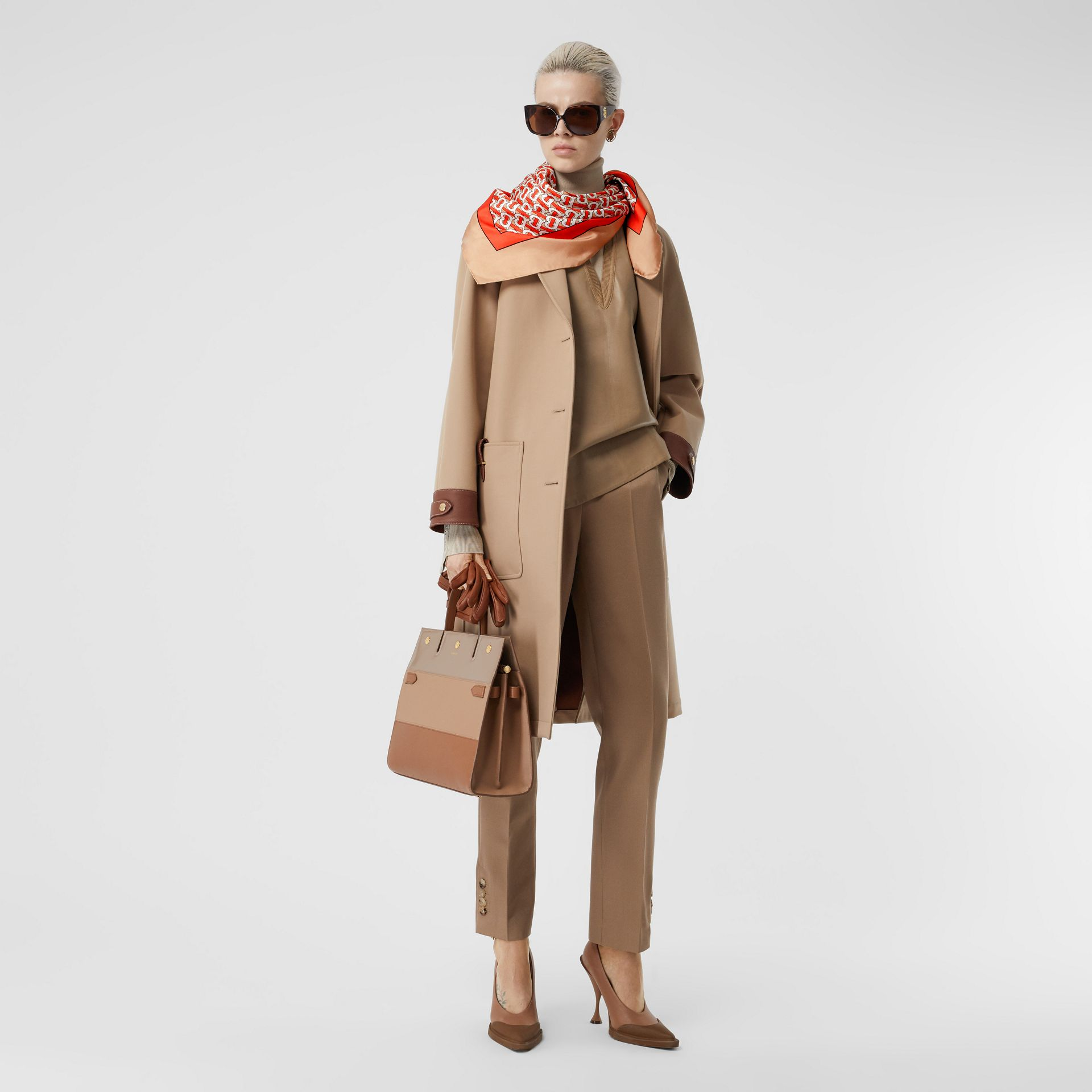 Monogram Print Silk Square Scarf in Vermilion - Women | Burberry United Kingdom - gallery image 5