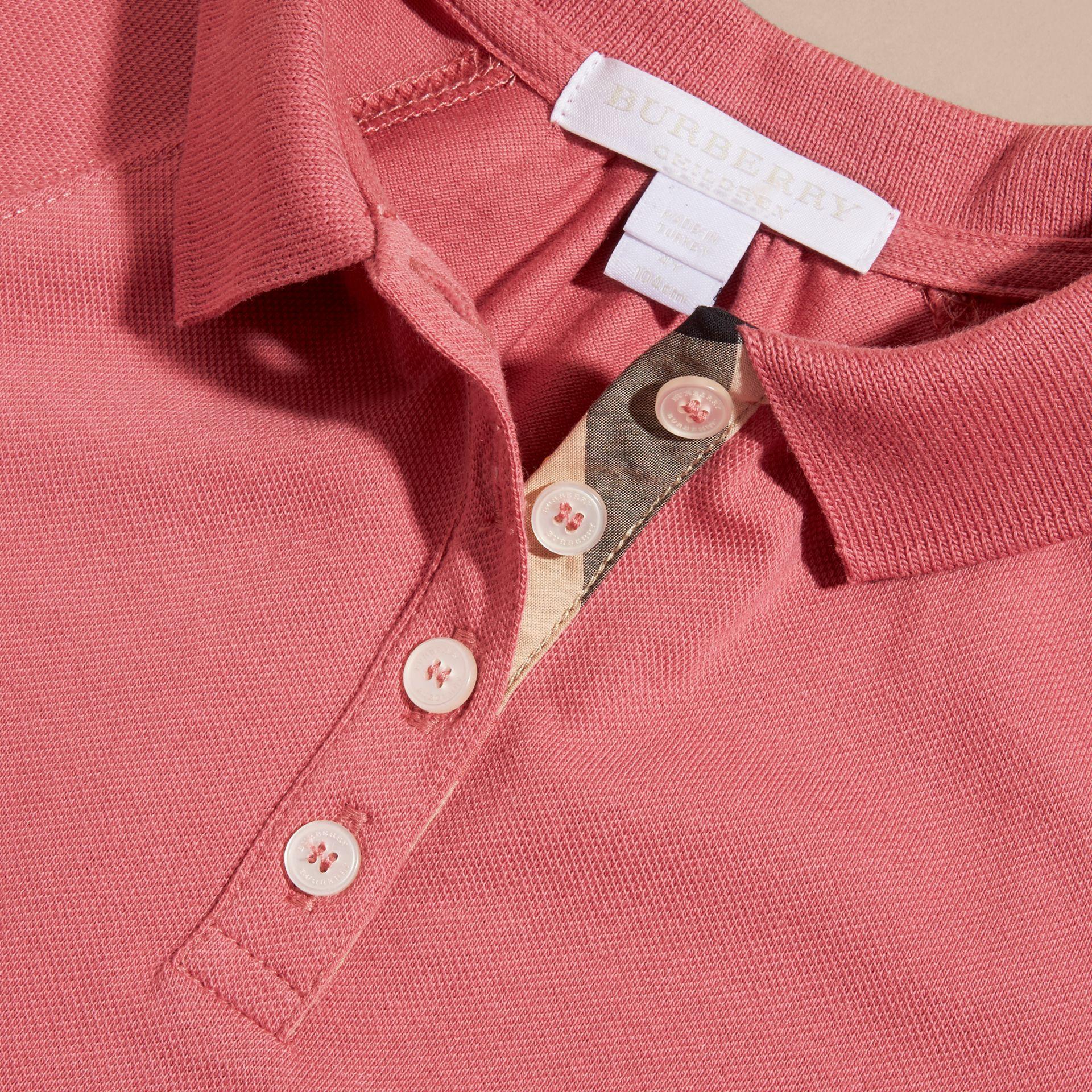 Check Placket Cotton Blend Polo Shirt Dress - gallery image 2