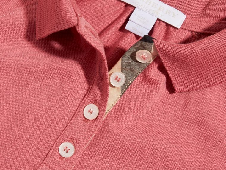 Pink azalea Check Placket Cotton Blend T-Shirt Dress Pink Azalea - cell image 1