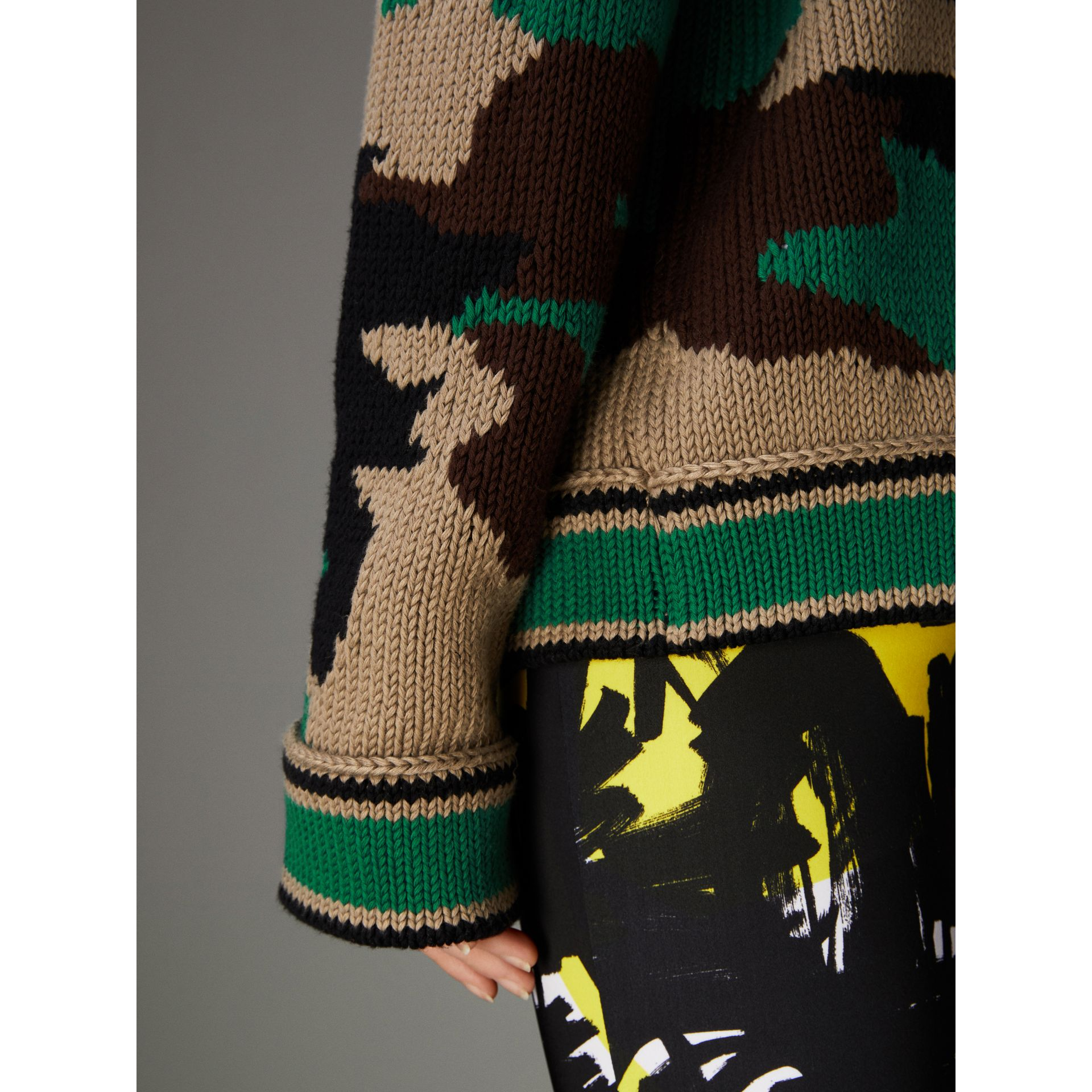 Camouflage Intarsia Cotton V-neck Sweater in Military Khaki - Women | Burberry - gallery image 2