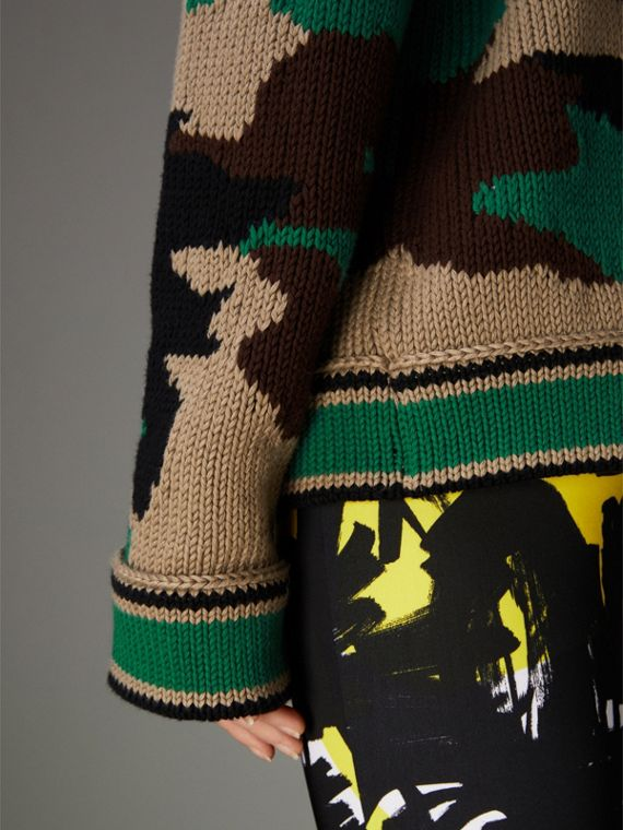 Camouflage Intarsia Cotton V-neck Sweater in Military Khaki - Women | Burberry Australia - cell image 2
