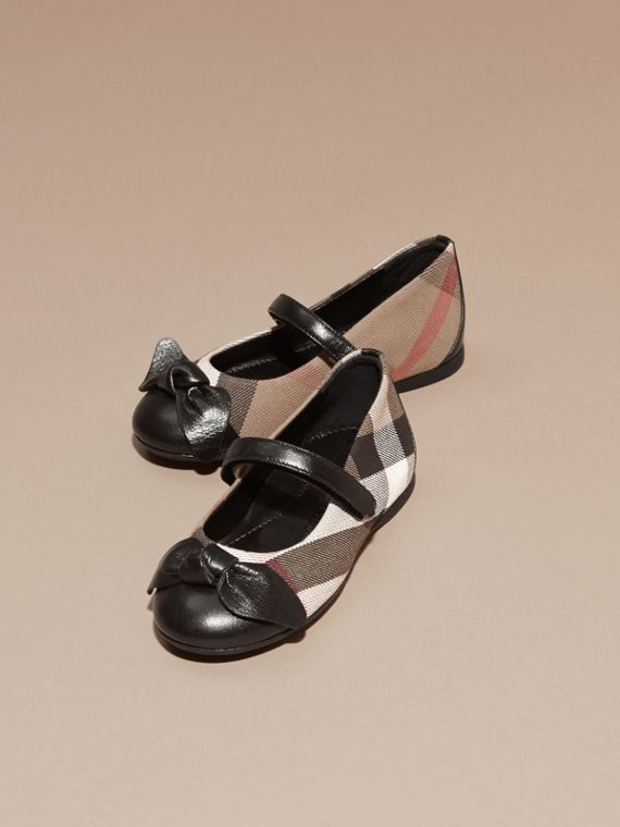 Ballerines en cuir et coton House check (Noir) | Burberry - cell image 2
