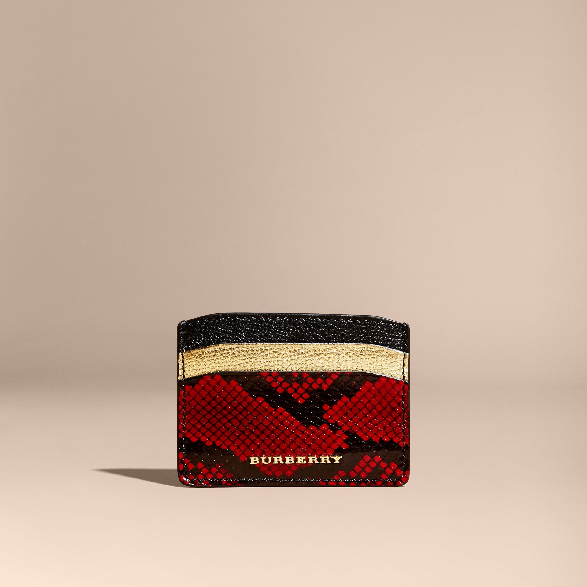 Colour Block Leather and Snakeskin Card Case in Black/gold - gallery image 6