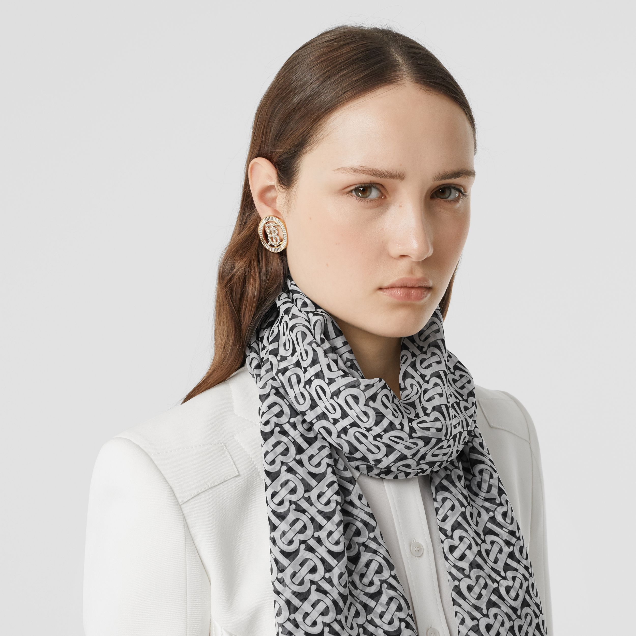 Monogram Print Silk Chiffon Scarf in Monochrome | Burberry United Kingdom - 3