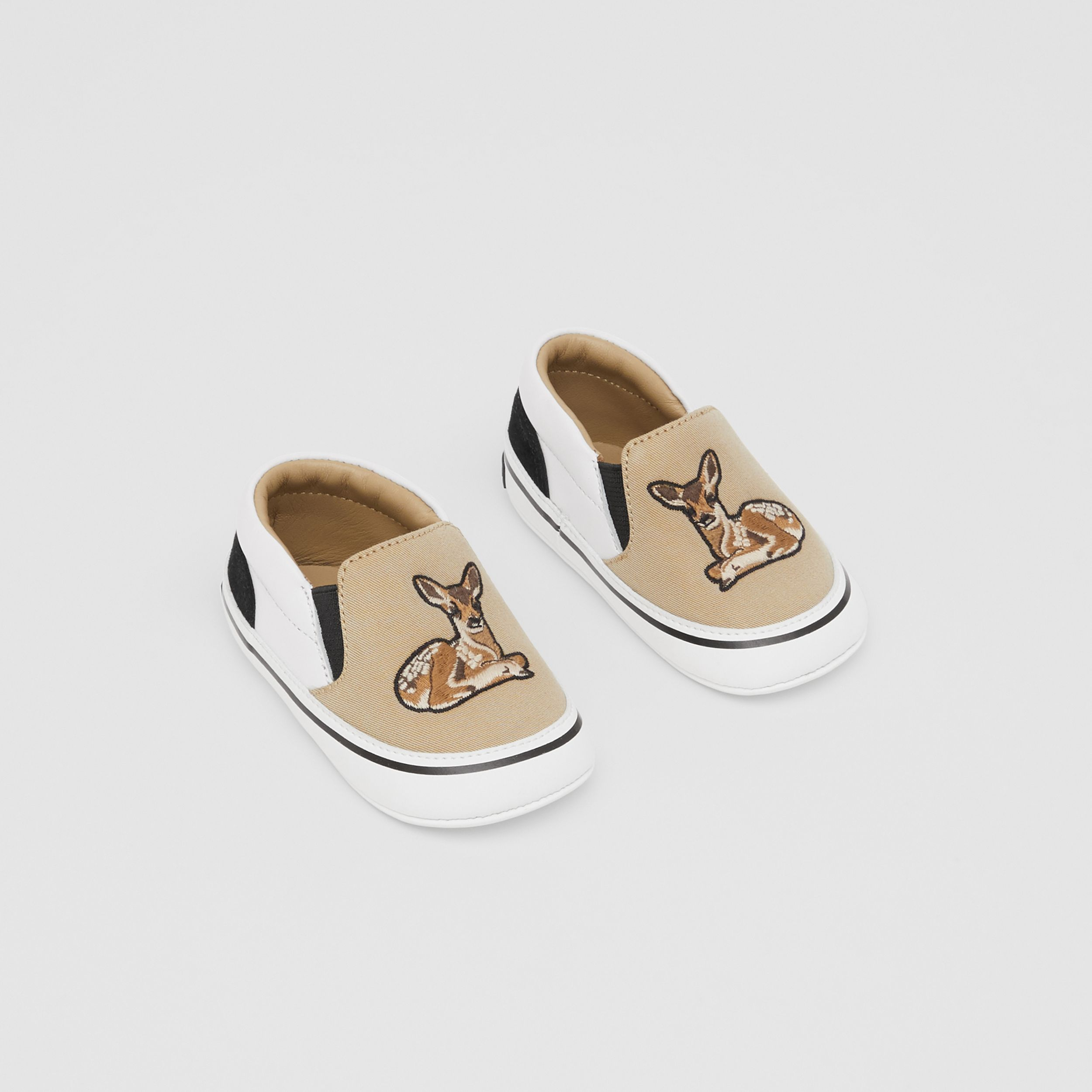 Deer Motif Slip-on Shoes in Honey - Children | Burberry - 1