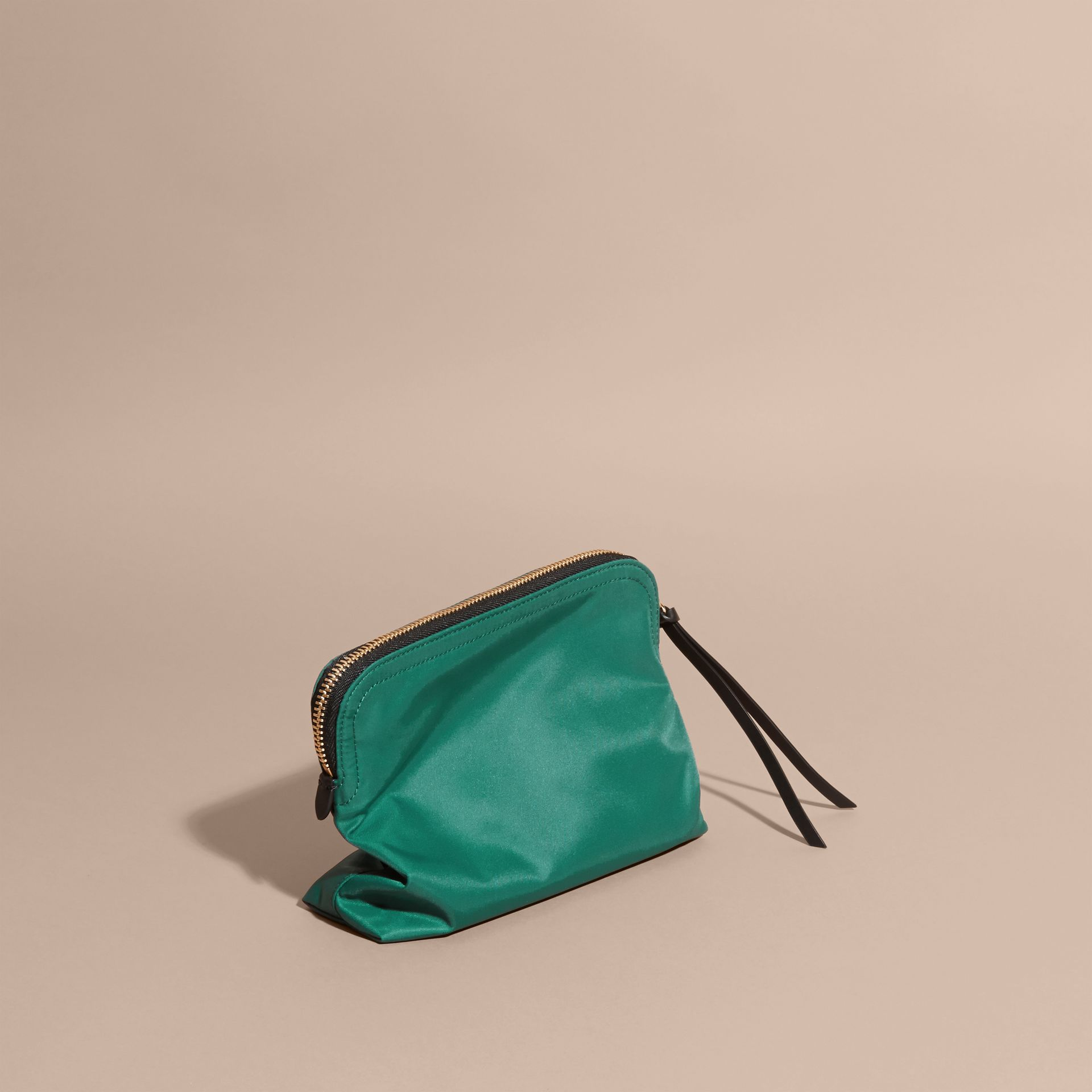 Pine green Zip-top Technical Nylon Pouch - gallery image 4