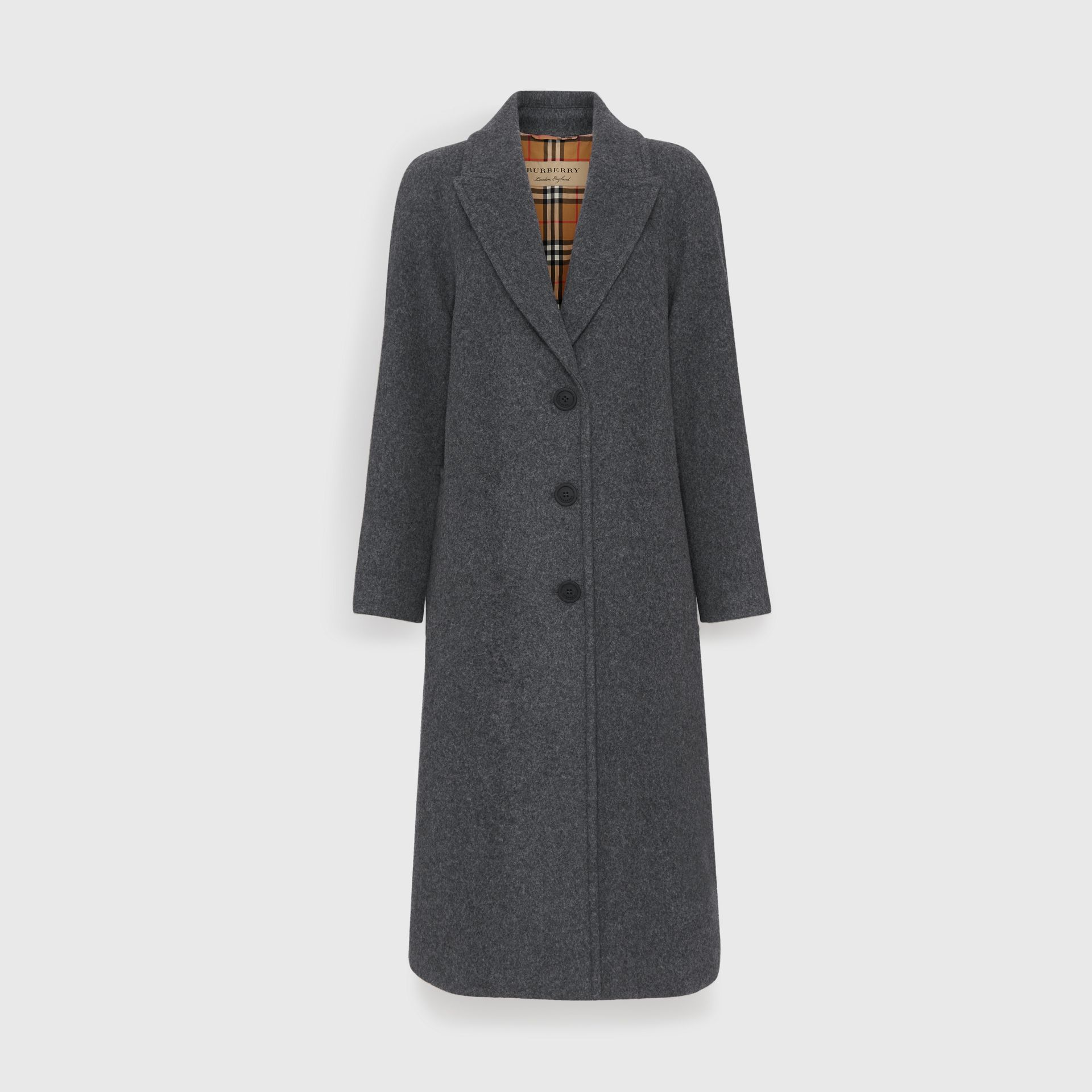 Wool Blend Tailored Coat in Mid Grey Melange - Women | Burberry - gallery image 3
