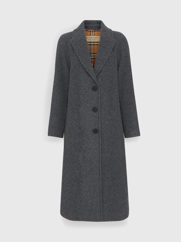 Wool Blend Tailored Coat in Mid Grey Melange - Women | Burberry - cell image 3
