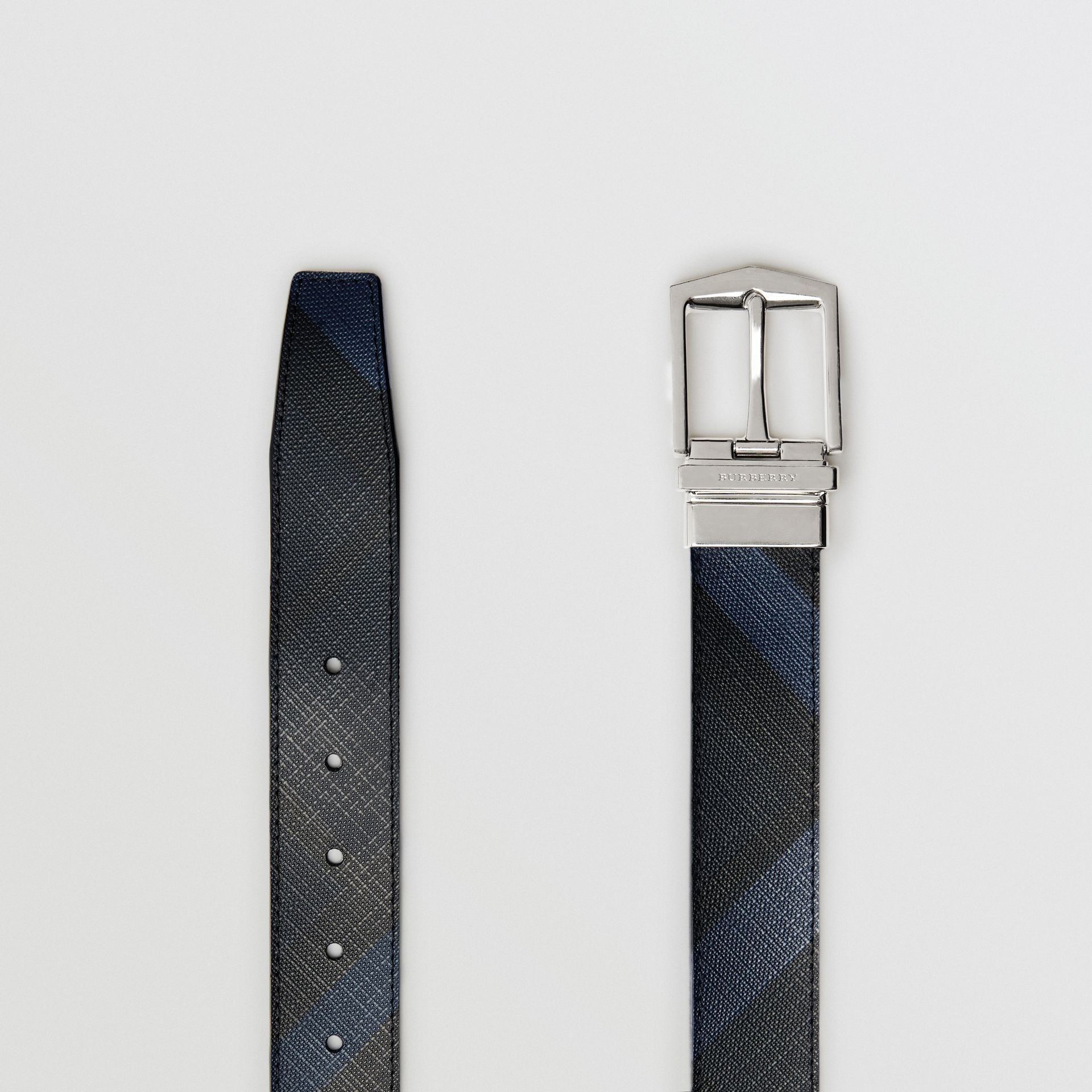 Reversible London Check and Leather Belt in Navy/black - Men | Burberry United Kingdom - gallery image 5