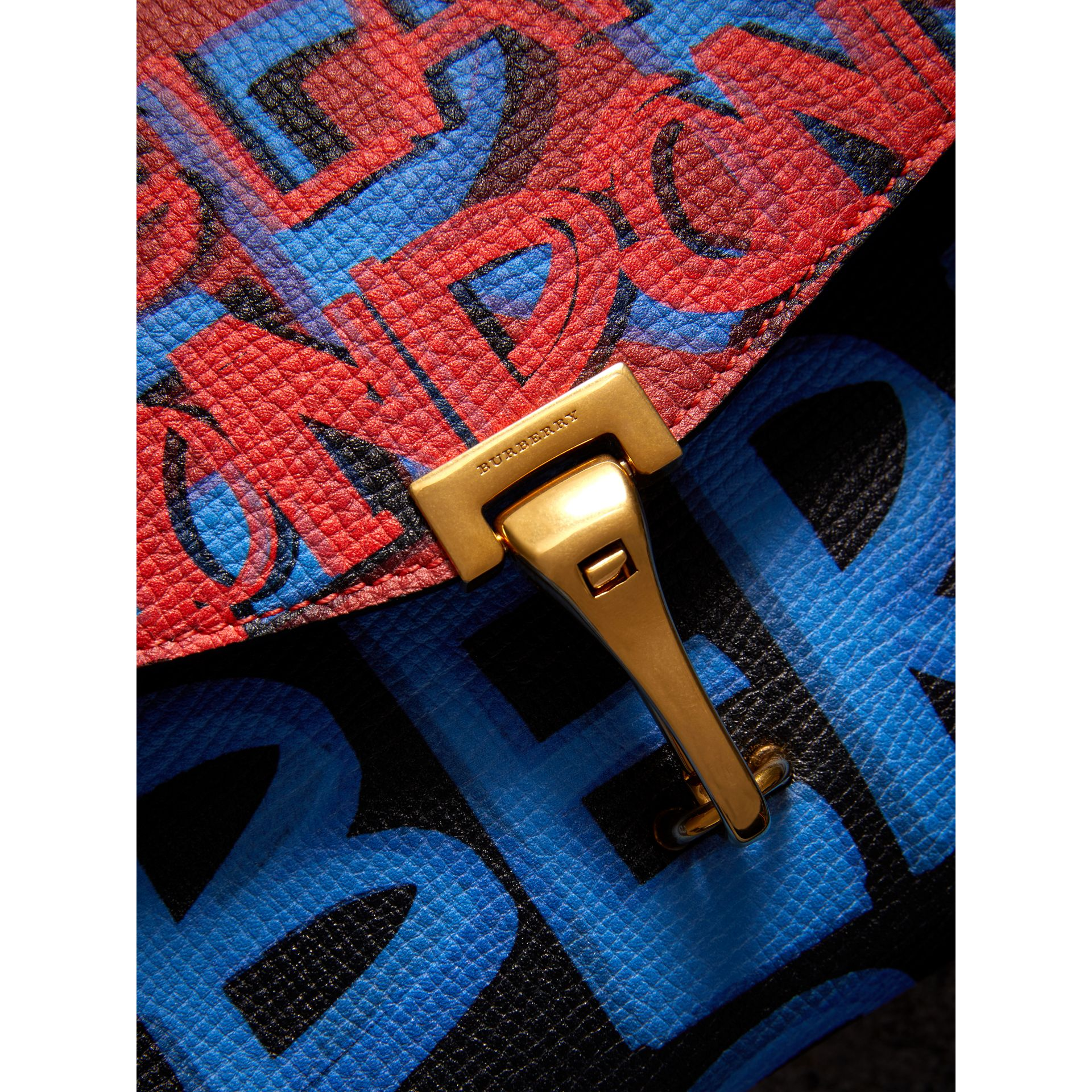 Small Graffiti Print Leather Crossbody Bag in Black - Women | Burberry Australia - gallery image 1