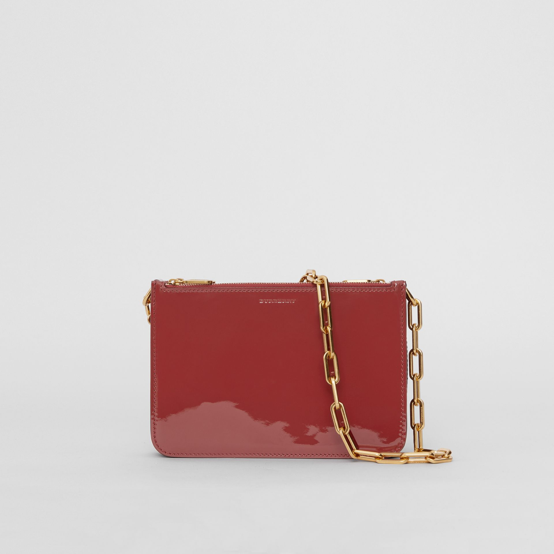 Triple Zip Patent Leather Crossbody Bag in Crimson - Women | Burberry - gallery image 0