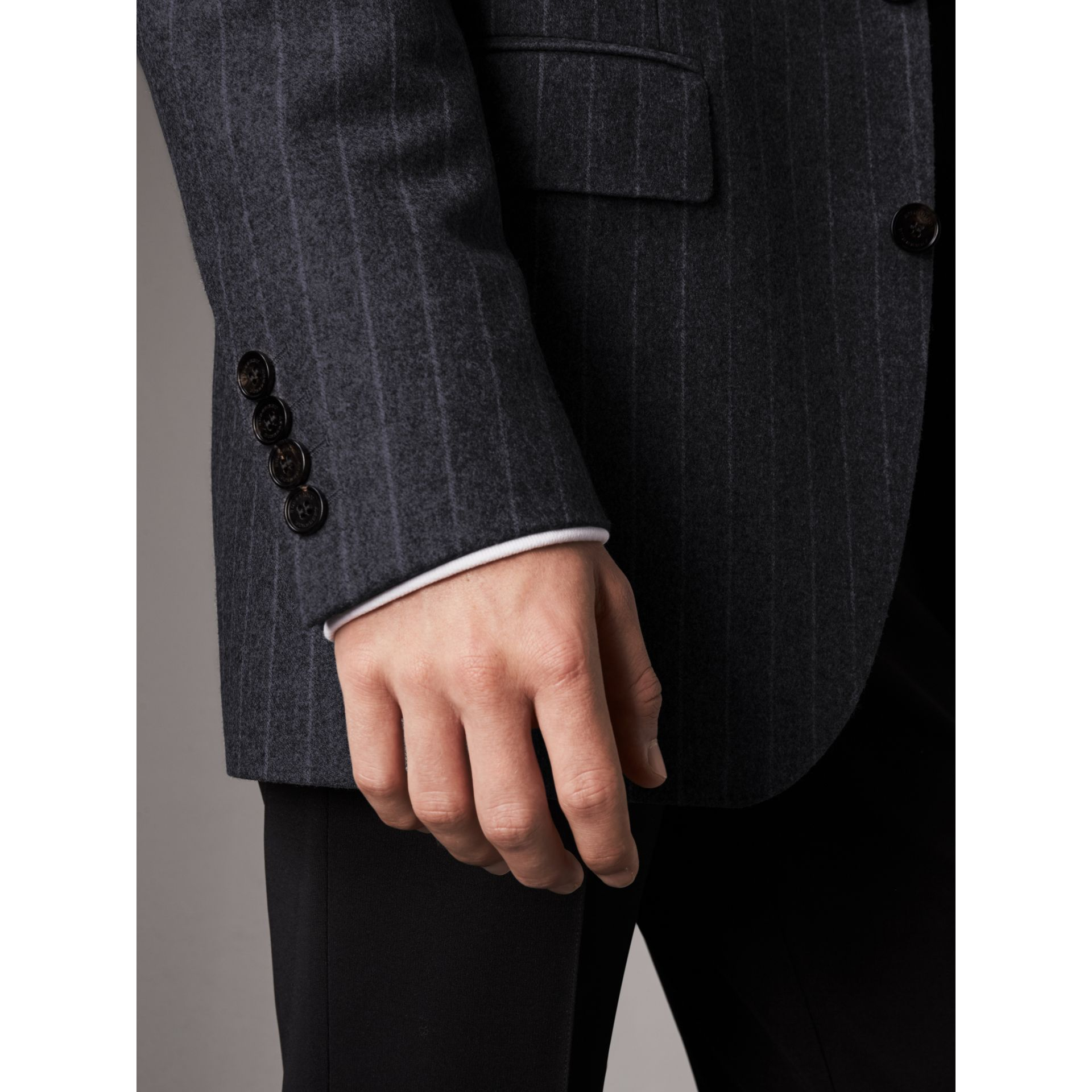 Pinstripe Wool Tailored Jacket in Navy - Men | Burberry Australia - gallery image 5