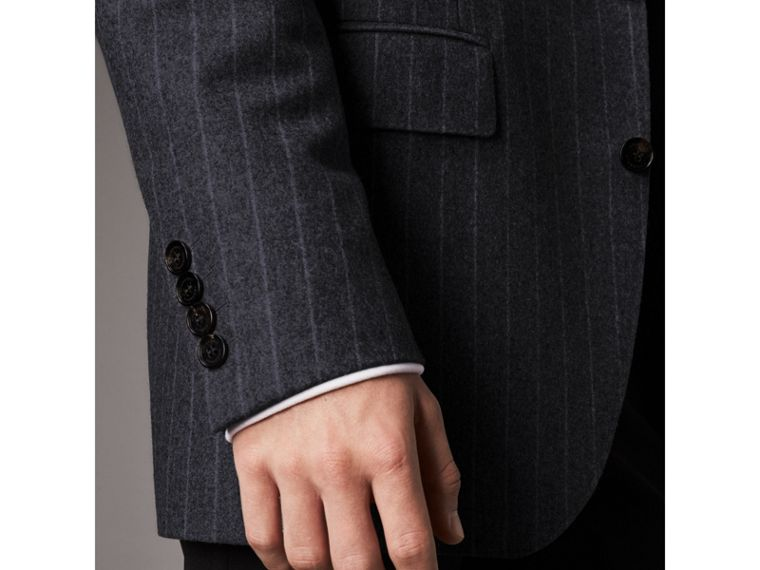 Pinstripe Wool Tailored Jacket in Navy - Men | Burberry Australia - cell image 4