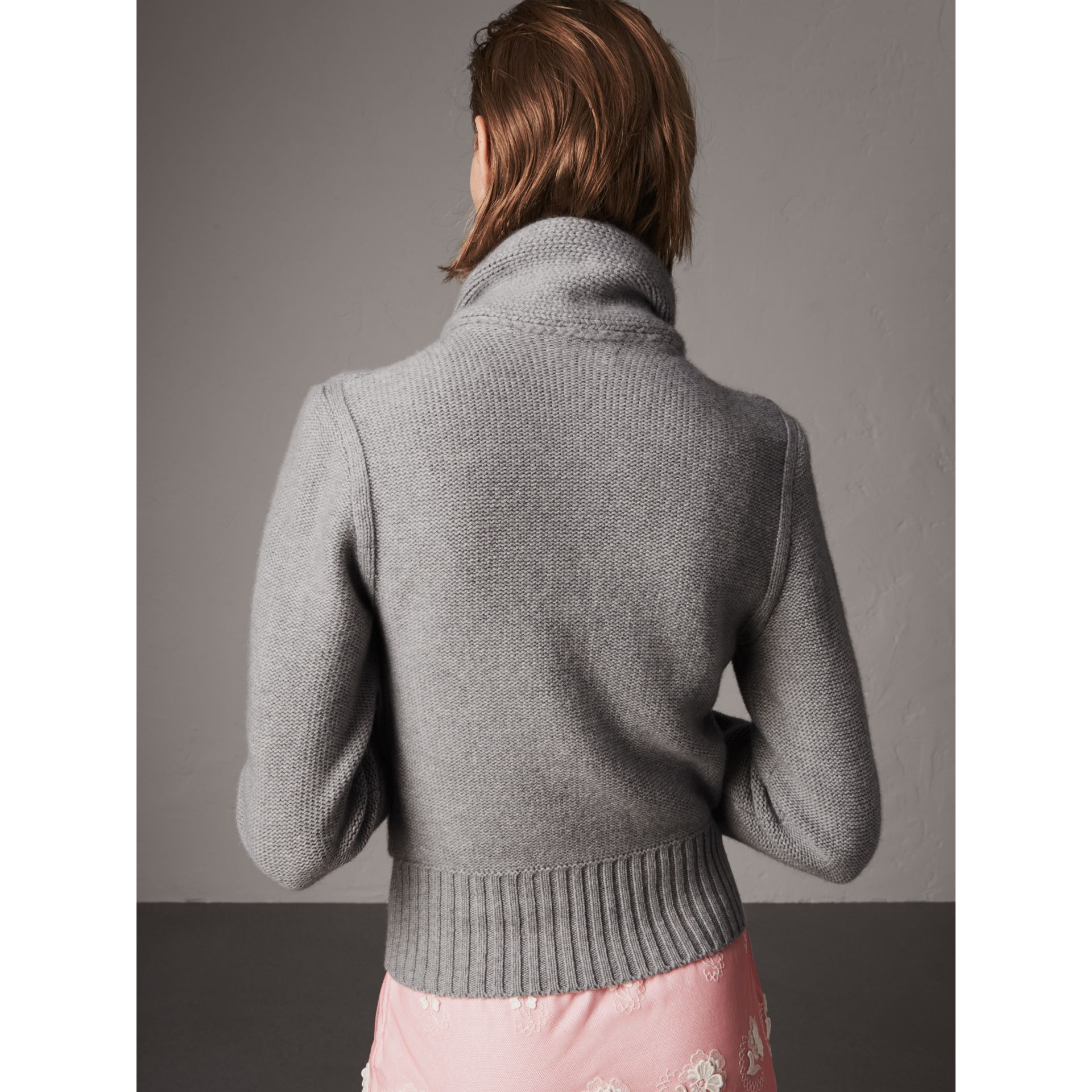 Cashmere Tie-neck Sweater in Pale Grey Melange - Women | Burberry Australia - gallery image 2