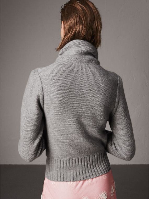 Cashmere Tie-neck Sweater in Pale Grey Melange - Women | Burberry United Kingdom - cell image 2