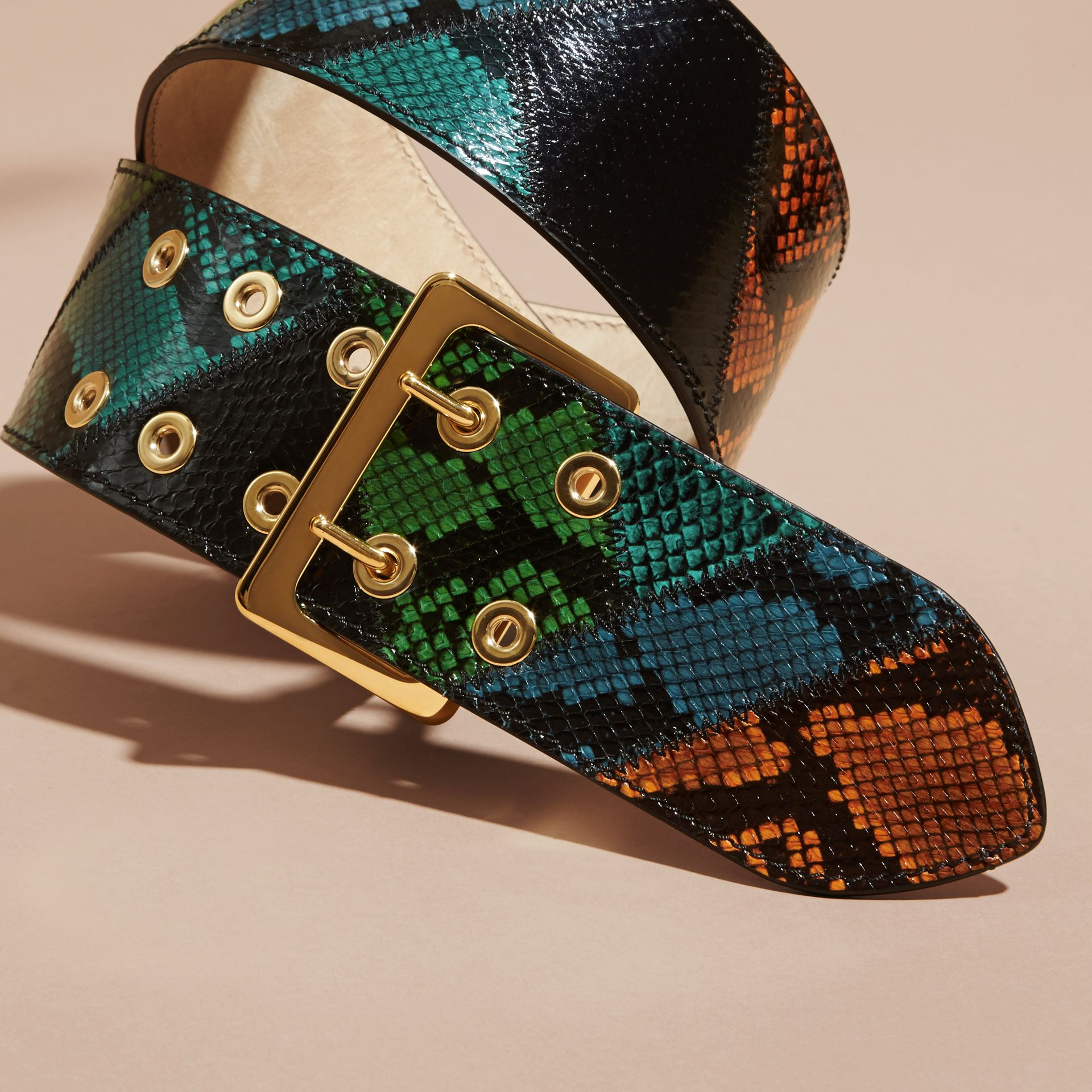 Snakeskin Intarsia Waist Belt in Bright Toffee - Women | Burberry - gallery image 3