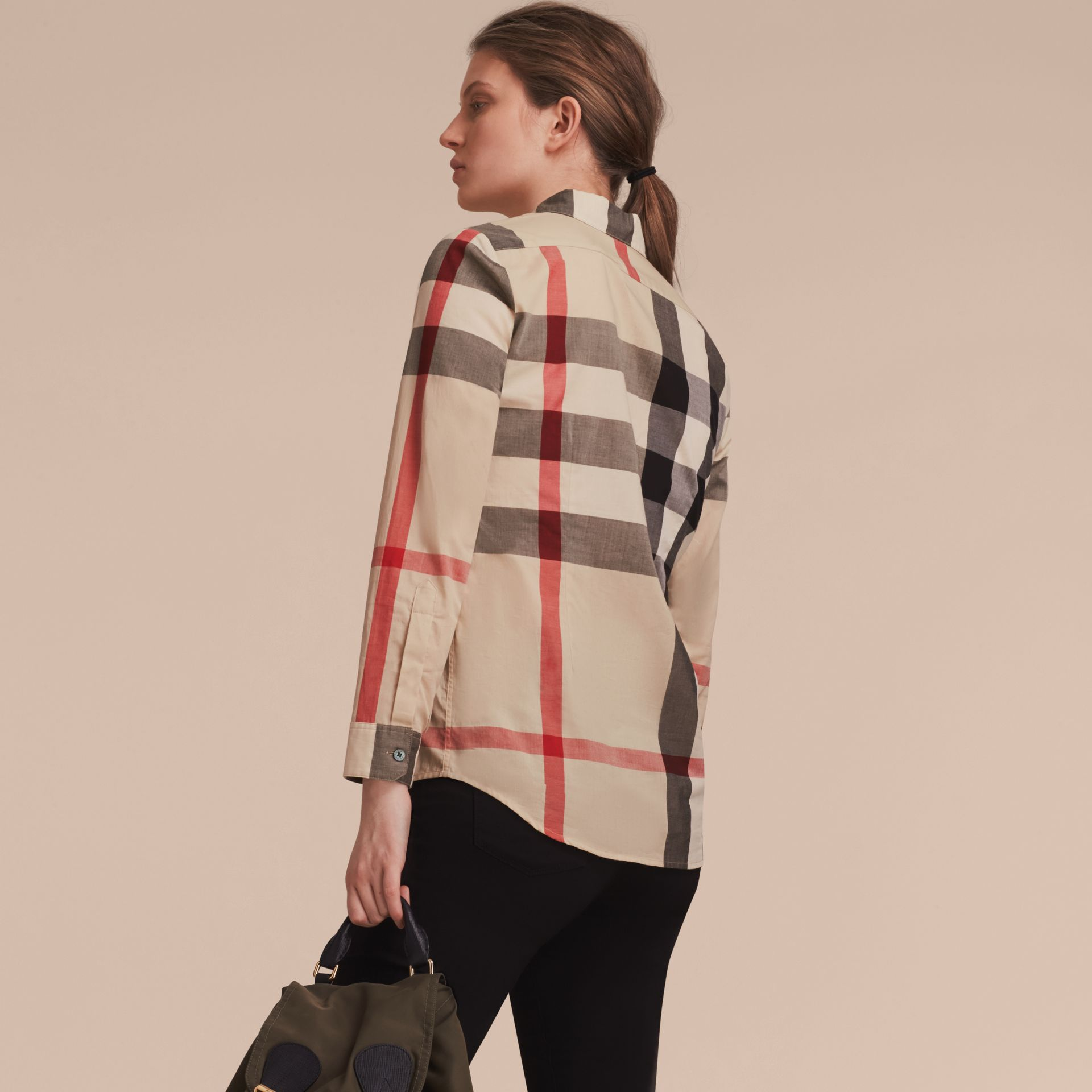 Check Cotton Shirt in New Classic - Women | Burberry - gallery image 3