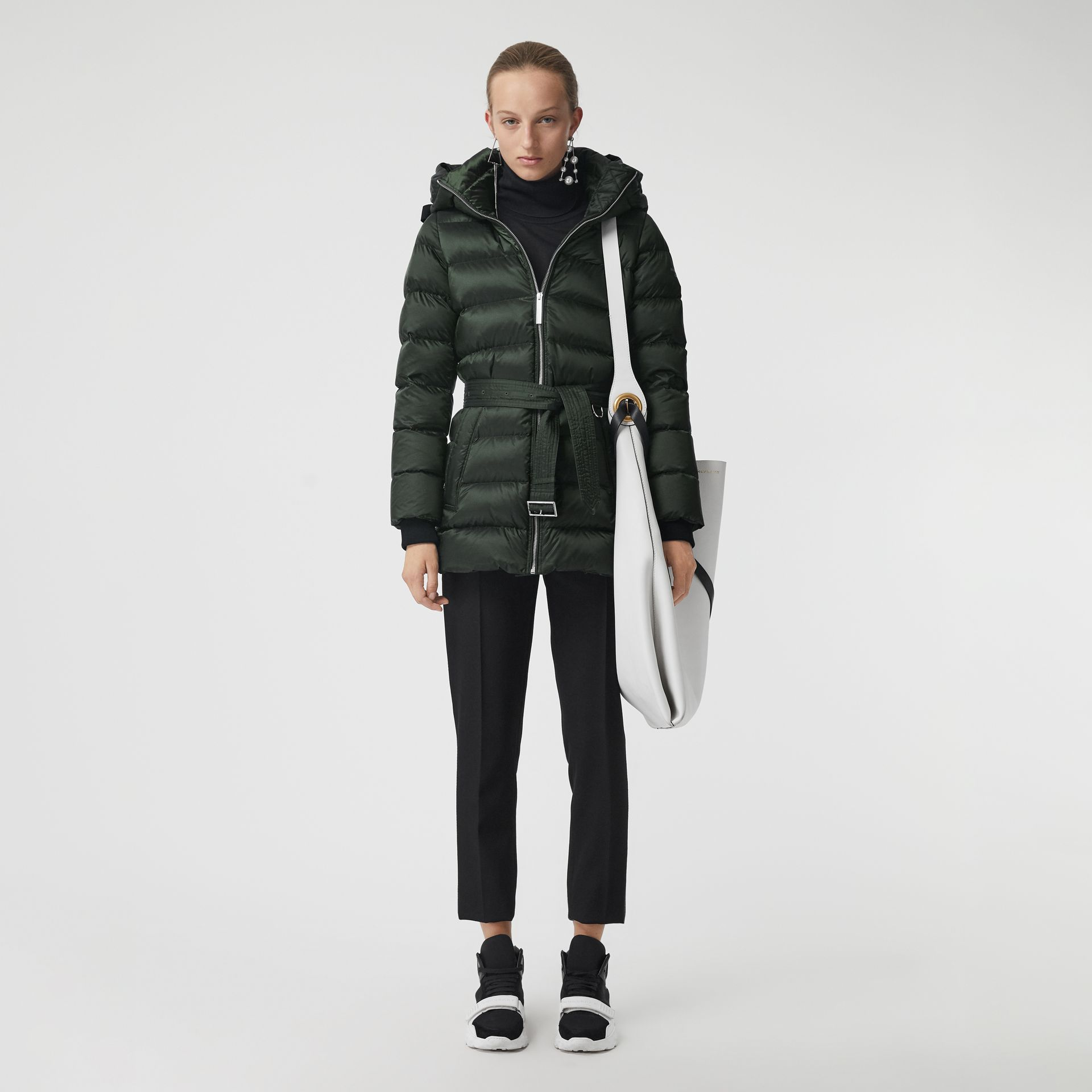 Down-filled Hooded Puffer Coat in Dark Racing Green - Women | Burberry - gallery image 0