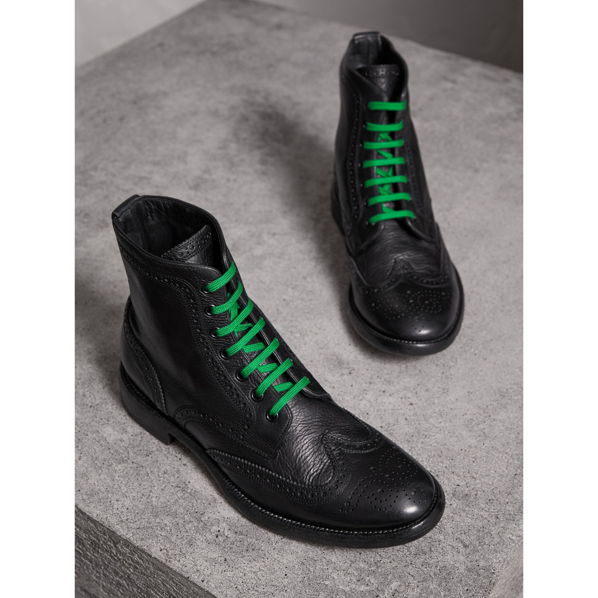 Leather Brogue Boots with Bright Laces in Black - Men | Burberry - gallery image 4