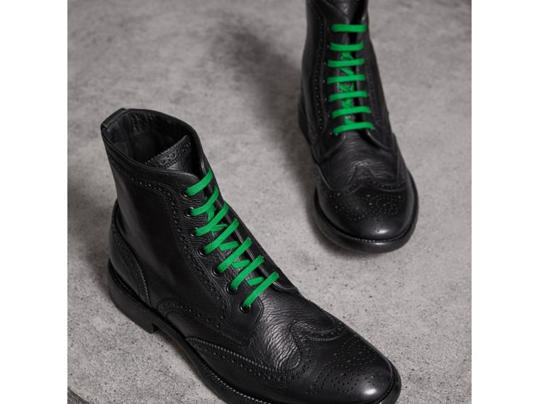 Leather Brogue Boots with Bright Laces in Black - Men | Burberry Hong Kong - cell image 4