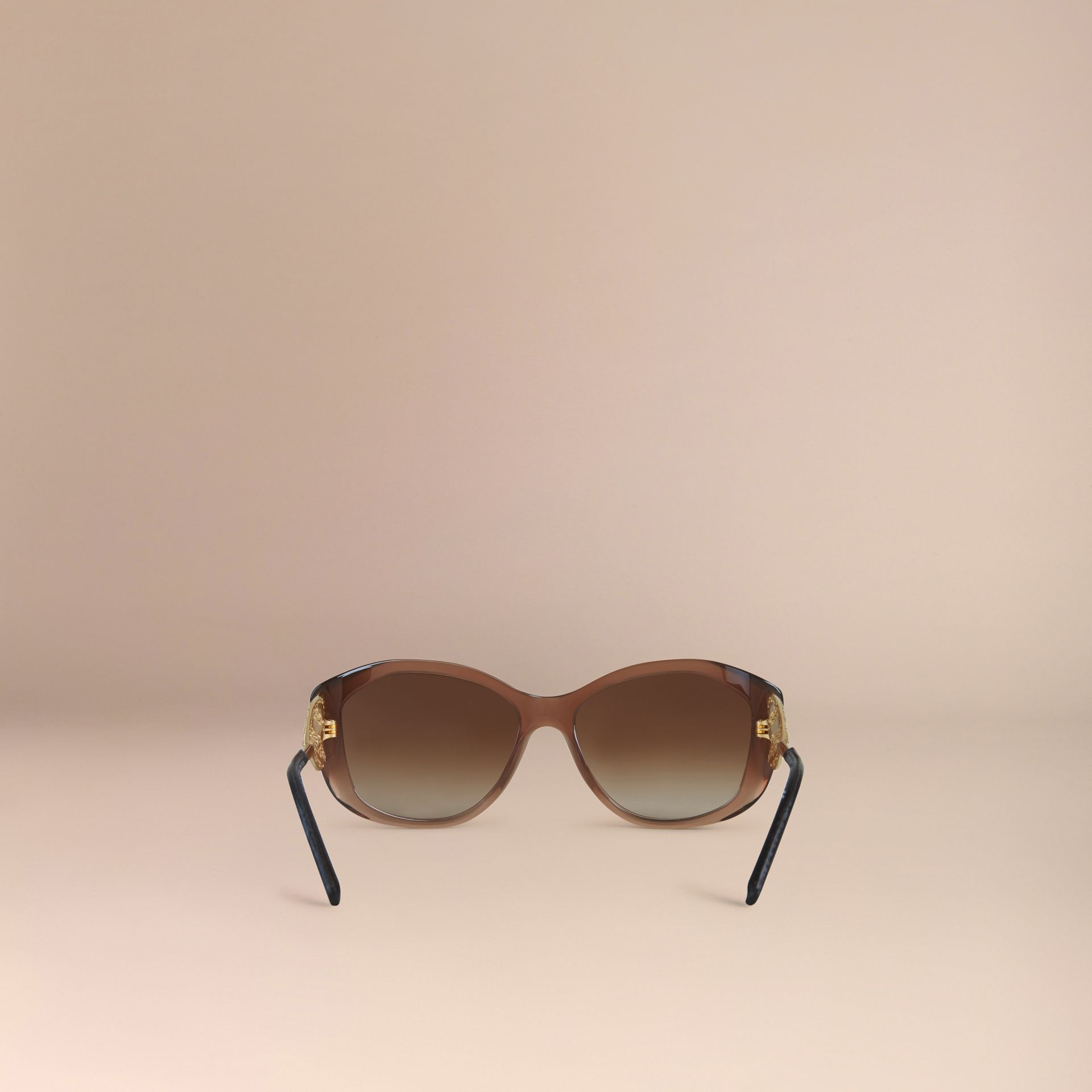 Gabardine Collection Square Frame Sunglasses Dark Amber - gallery image 3