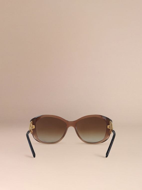 Gabardine Collection Square Frame Sunglasses Dark Amber - cell image 2